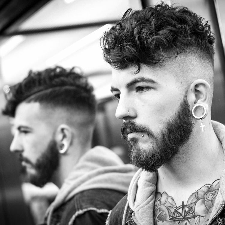 The Curly High Skin Fade for Long faces