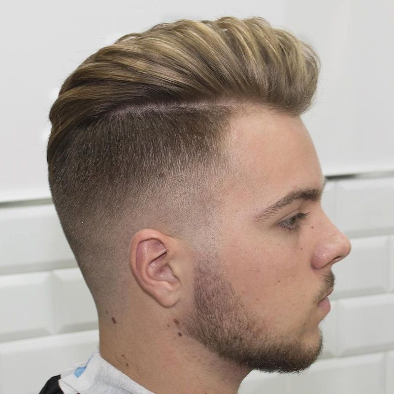Bald Fade with Medium Hair Pomp is a sure hit