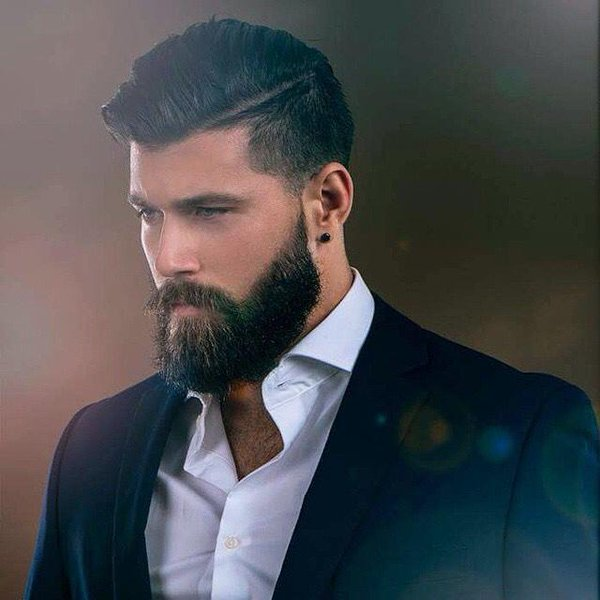 Groomed Beard with a Pomp Hairstyle