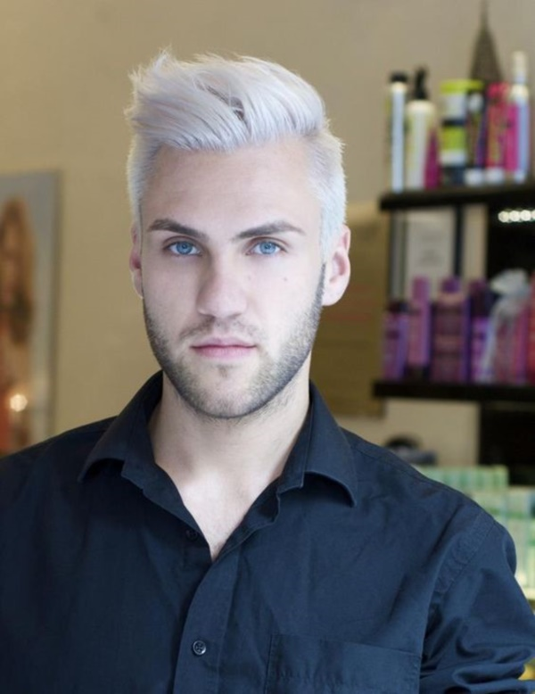 All out hairstyle with white color