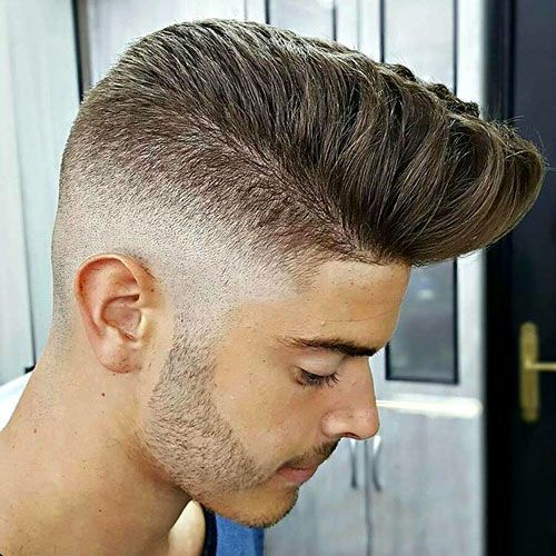 High Pompadour with skin fade
