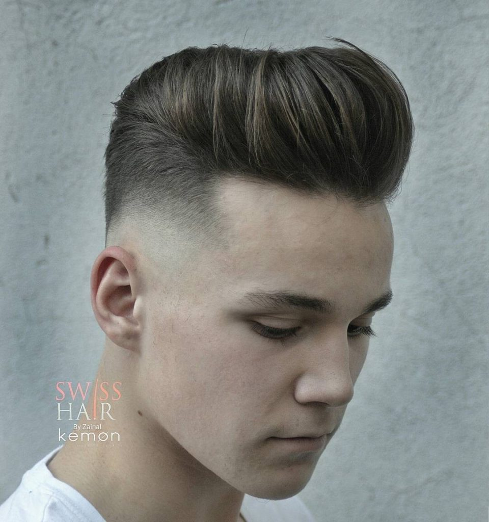 Modern Pompadour with mid fade