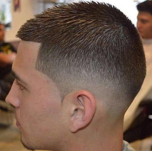 Mid fade on short hair