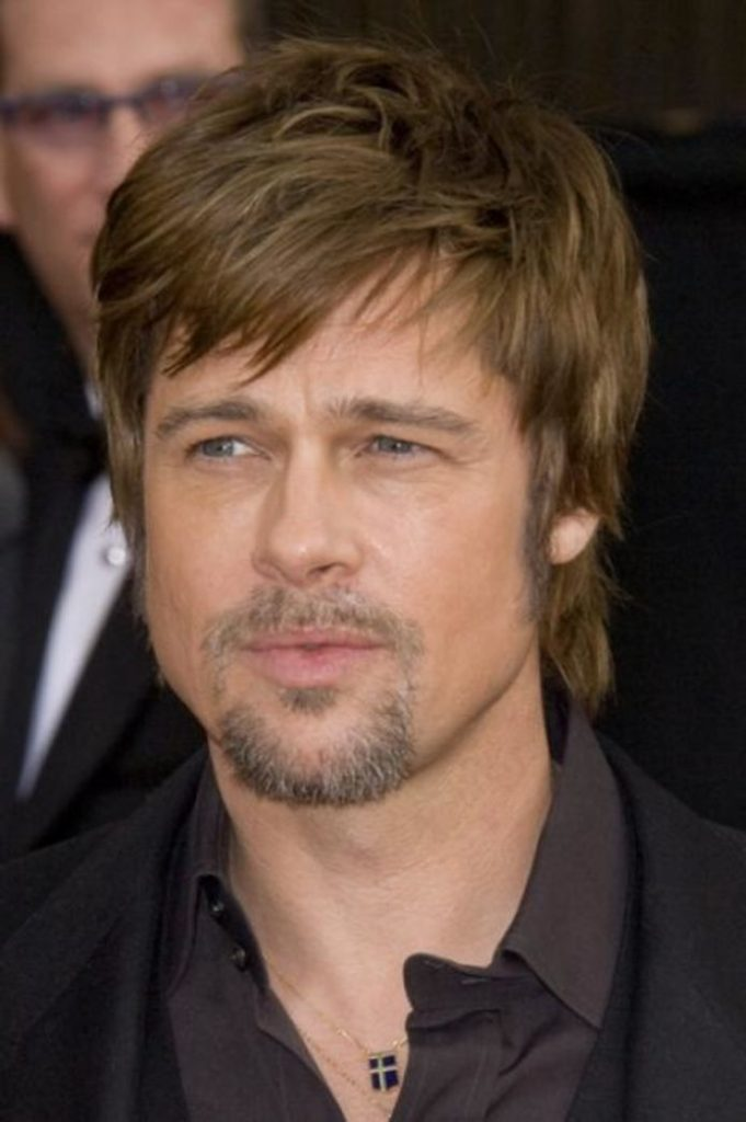 Short and messy Brad Pitt hairstyle
