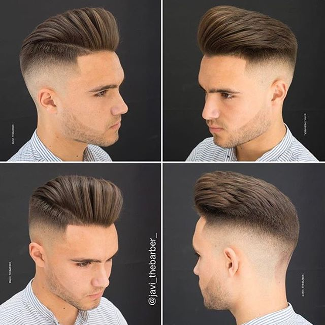 Mid fade with a large pompadour