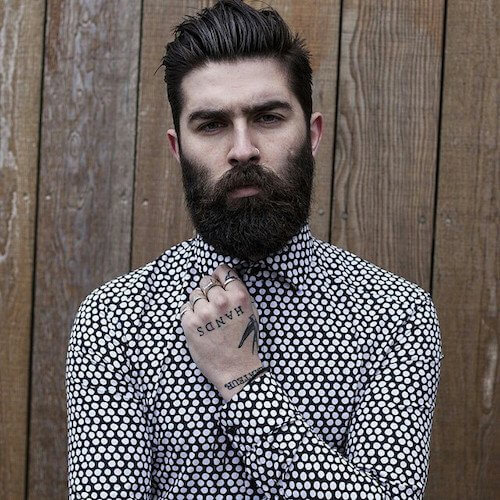 Medium Length Haircut with long Beard
