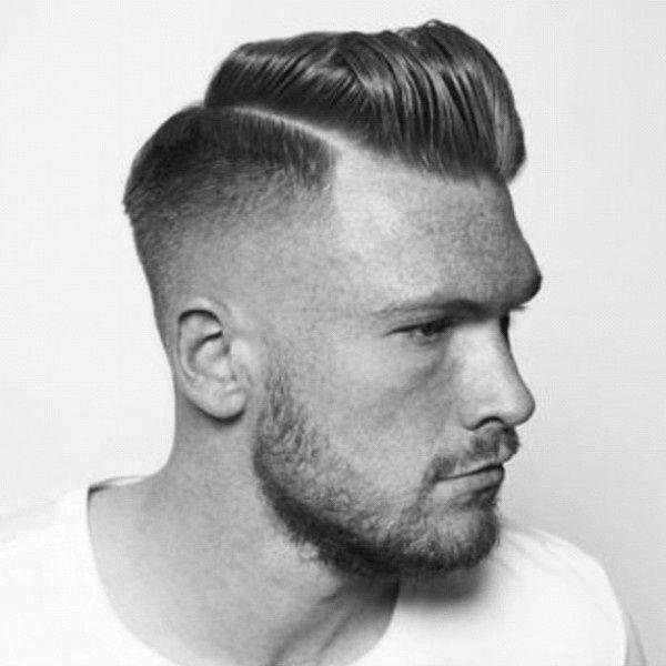 Razored comb over with pompadour