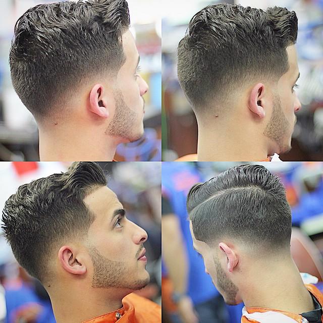 Wavy comb over fade