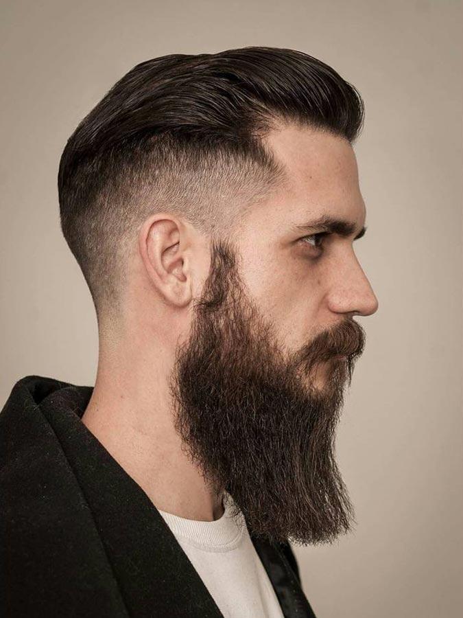 Slick back drop fade with beard