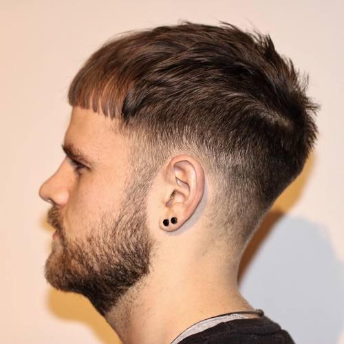 Long fringe Caesar cut