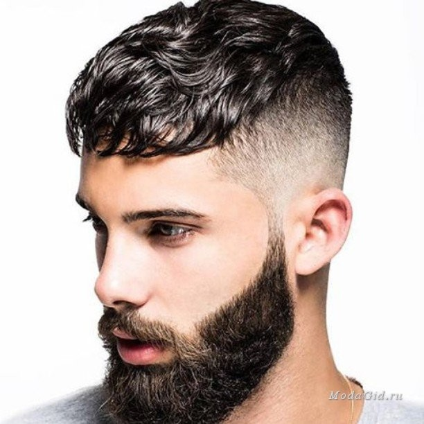 Razor fade sides and wavy bangs