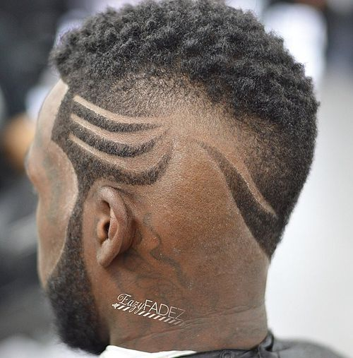 Curly cut with designs