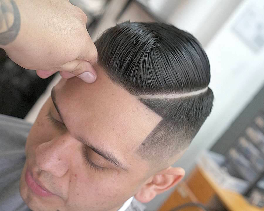 Short Slicked Pompadour with Hard Part