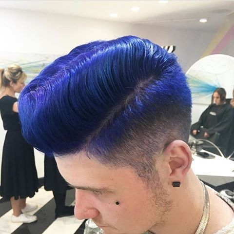 Pompadour electric blue hairstyle