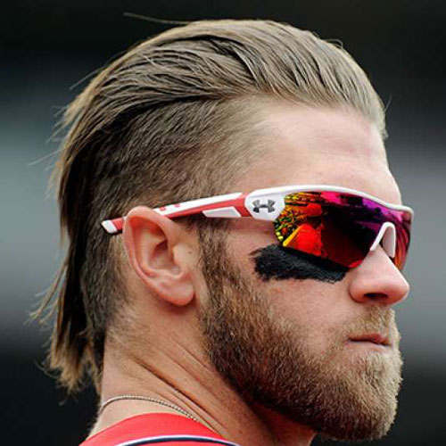 Brushed Back Bryce Harper Hairstyle