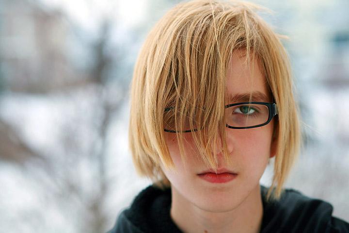 Teen boy long hair style