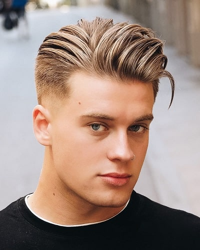 Pushed Back Long Hairstyle with Short Sides