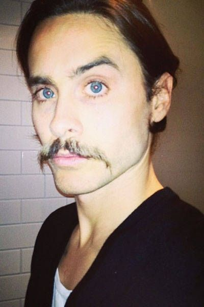 Jared Leto hairstyle with handlebar mustache
