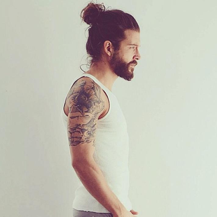 Man Bun Hair Style 13 - Man Bun with Beard and Tattoos