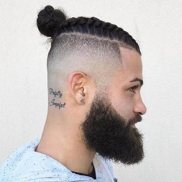 Man Bun Neat Undercut Hairstyle