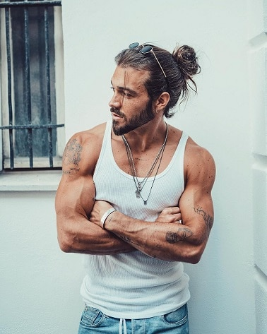 Man Bun with Beard and Tattoos