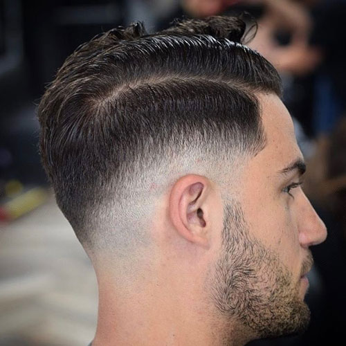 Hard Side Part Low Razor Fade with Beard