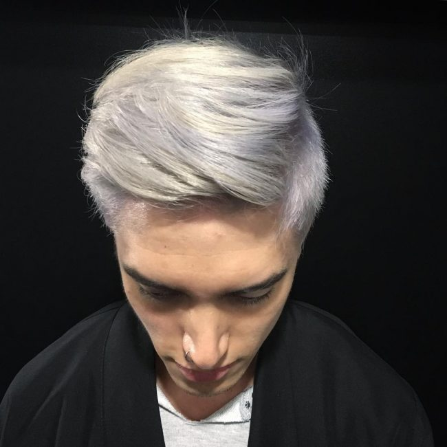 Side swept silver gray layered bangs hairstyle