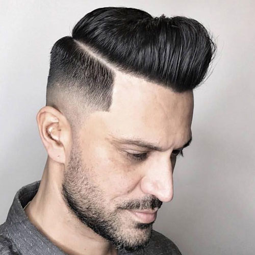 Parted Pomp Line Part Medium Razor Fade