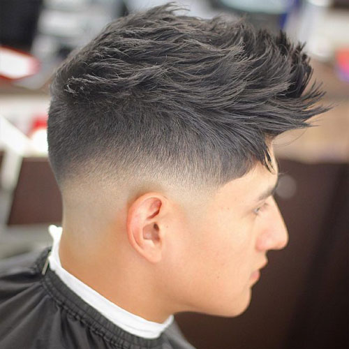 Spiky Textured Low Razor Fade Haircut