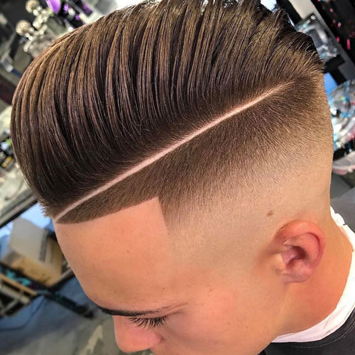 Hard Part Razor Fade Pompadour Haircut
