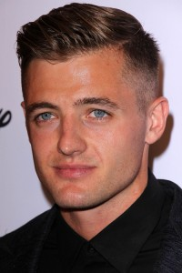 Parted hair with tapered combover