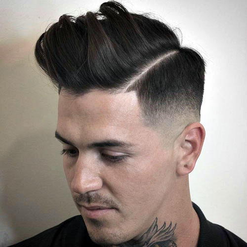 Line Up Messy Pomp Mid Razor Fade Haircut