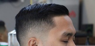 Classic fade with side swept hairstyle