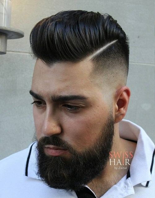 High Quality Pompadour Haircut Side Swept On The Edge