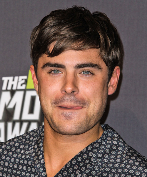 Straight And Short Messy Casual Zac Efron Hairstyle
