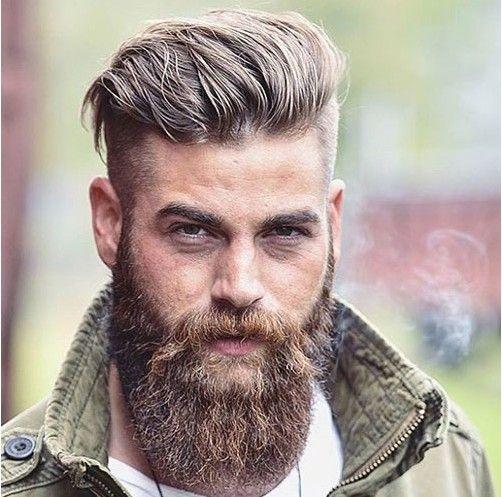 Brush back undercut with full beard hairstyle