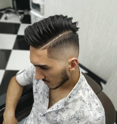 Hard Part Razor Fade Pompadour Haircut