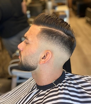 Short Spiky Line Part with Low Razor Fade