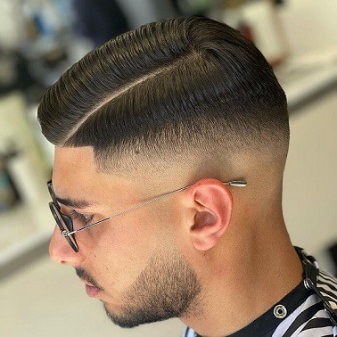 Slicked Part with Hard Side Razor Fade