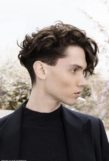 Wavy texture-medium sides-long top shaggy haircut