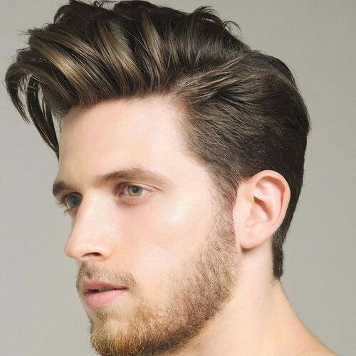 Classic extended side swept quiff hairstyle