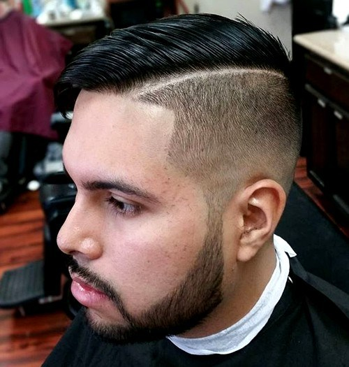 Skin fade half and half hairstyle