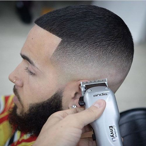 High skin fade edge up buzz cut