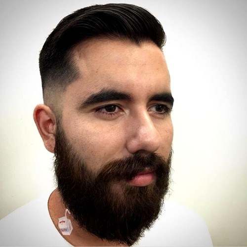The skin fade balanced haircut with a beard