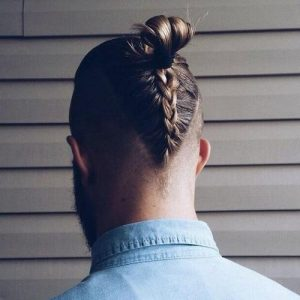 Man Bun with Reverse French Braid