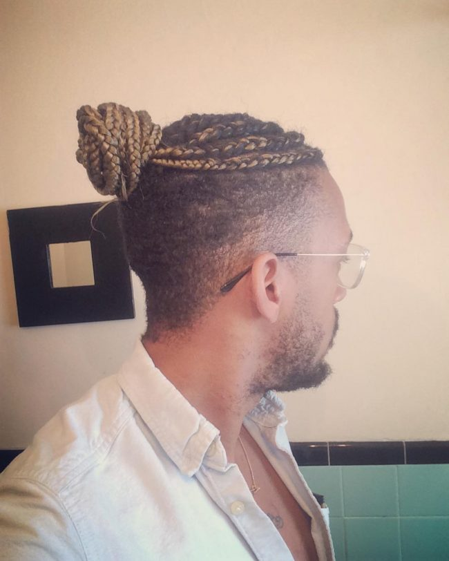 Box Braids Man Bun