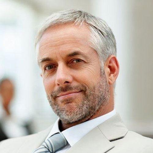 Guys Mature Grey Hairstyle