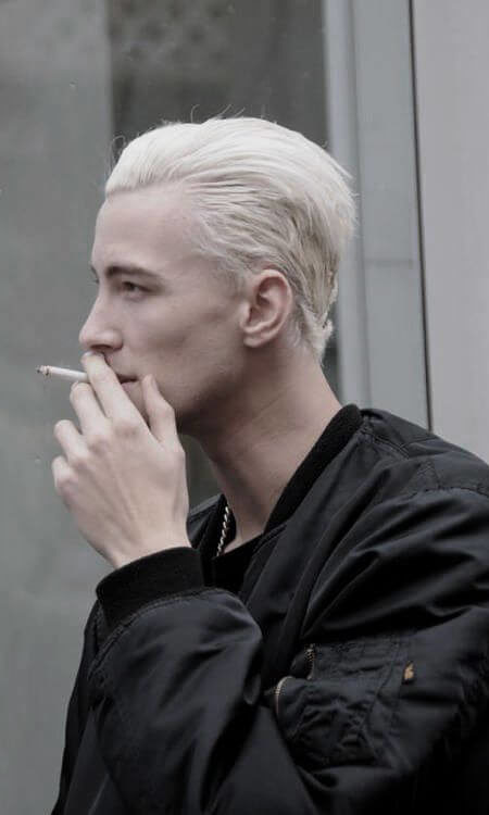 Slick Back Platinum Bleached Hairstyle