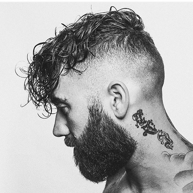 Curly Hairstyle with Shaved Sides