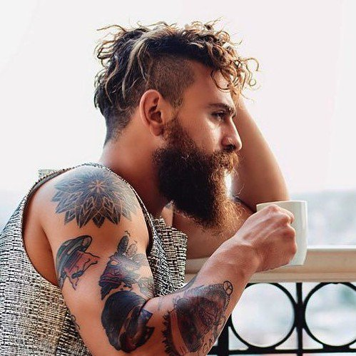 Long Hair Undercut with Thin Shaved Part